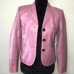 Ann Taylor Dusty Pink leather blazer